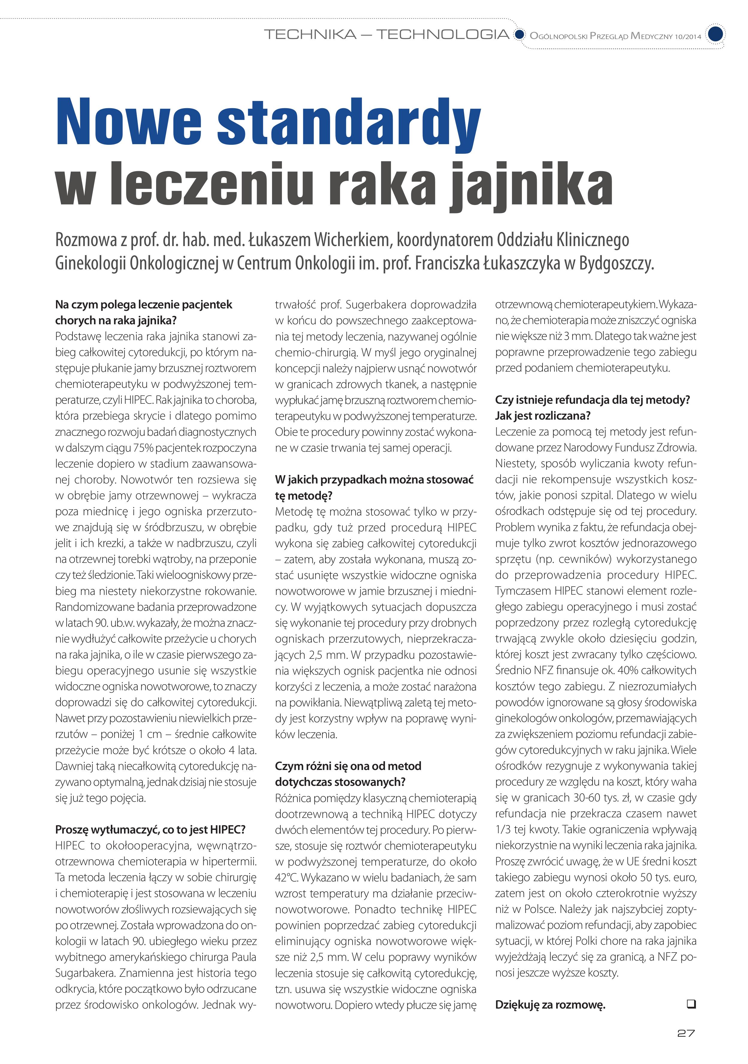 wywiad prof  Wicherek_OPM_10_2014