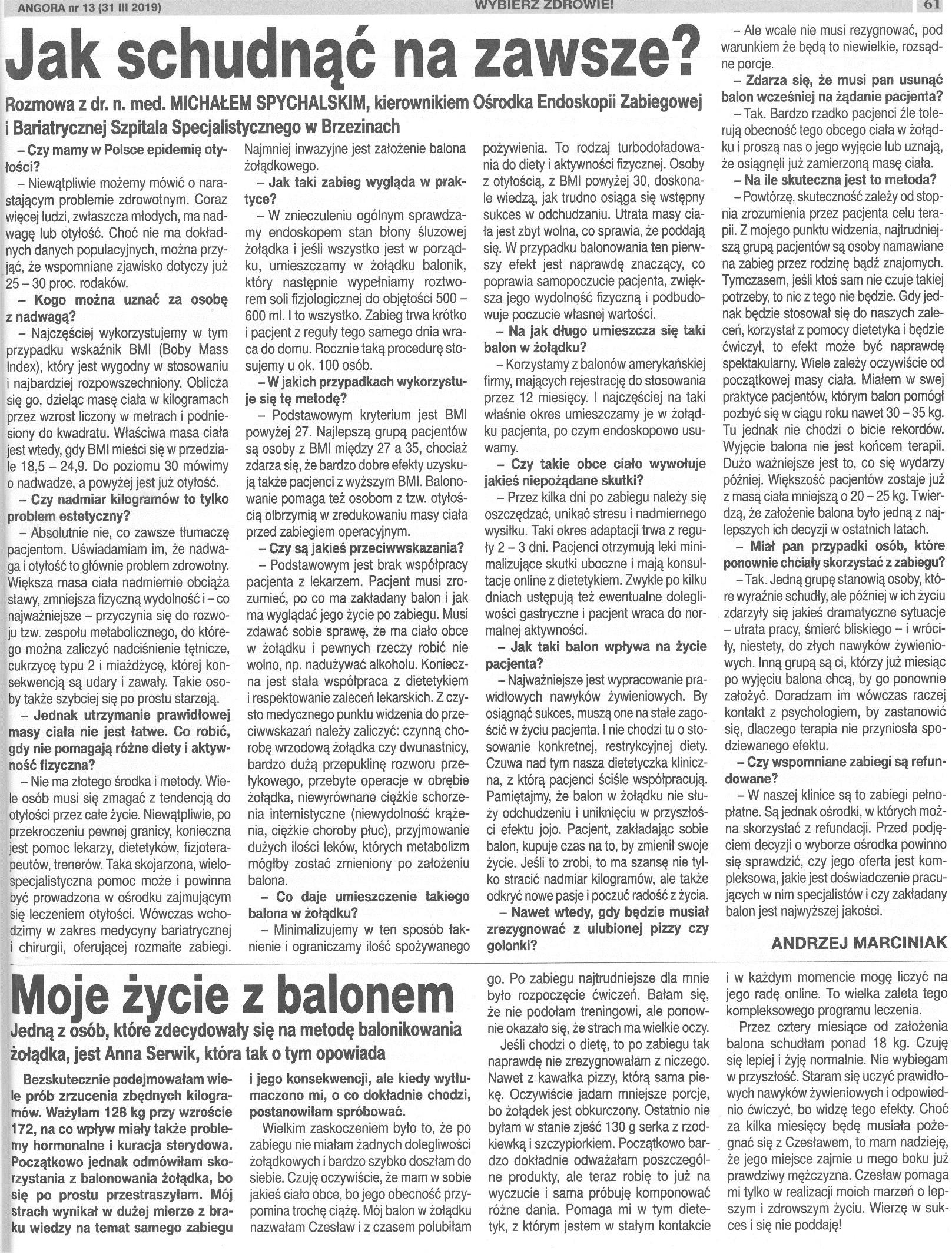 Wywiad z dr Spychalskim odnośnie implantacji Balonu Żołądkowego